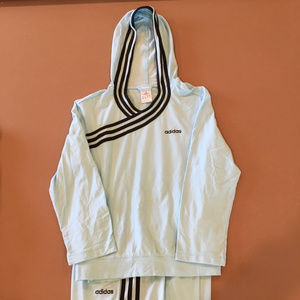 Adidas workout set, sz M, baby blue/black trim